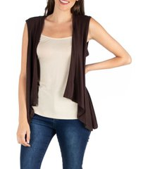 24seven comfort apparel open front sleeveless high low cardigan vest