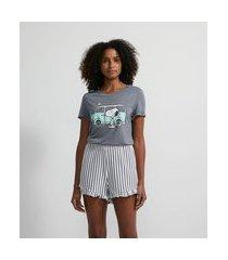 pijama curto em viscolycra com estampa snoopy | snoopy | azul | gg