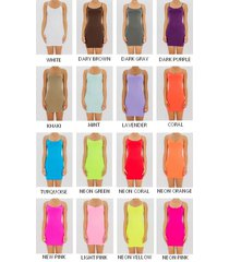 extra long seamless basic spaghetti strap stretch cami tank top tunic mini dress