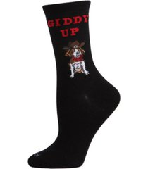 women's giddy up pup bamboo blend crew socks