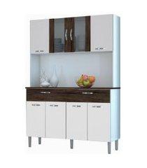 kit cozinha compacta armário pan 08 portas branco/white/petróleo - kit's paraná