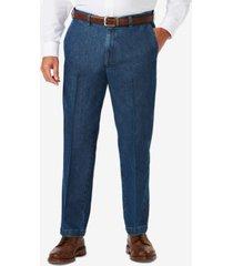 haggar men's big & tall stretch denim classic-fit flat front pants
