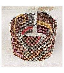 glass beaded wristband bracelet, 'fiery maya' (guatemala)