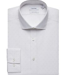 calvin klein white & beige polka-dot slim fit dress shirt