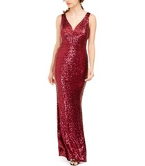crystal doll juniors' solid sequin gown