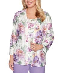 alfred dunner loire valley printed layered-look top