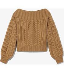 proenza schouler white label chunky cableknit sweater /neutrals l