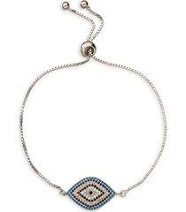 luxe rhodium-plated & multicolor cubic zirconia evil eye charm bracelet
