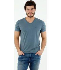 camiseta de hombre, cuello en v, manga corta, color azul