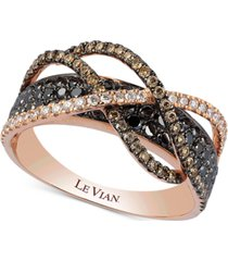 le vian exotics diamond crossover statement ring (1-1/10 ct. t.w.) in 14k rose gold