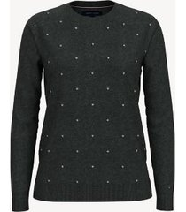 tommy hilfiger women's essential dot sweater gunmetal heather - xxs