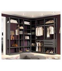 módulo closet c/ espelho be mobiliário clothes 2 portas 3 gavetas