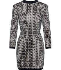 balmain black and ivory knit dress