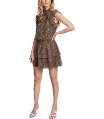 1.state smocked-neck leopard-print mini dress
