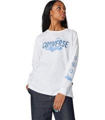 converse camiseta de manga larga icon remix para mujer white