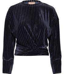striped velvet crewneck sweat with knot detail sweat-shirt tröja blå scotch & soda