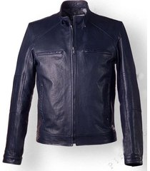 mens vintage style leather jacket in dark blue color, biker jacket men