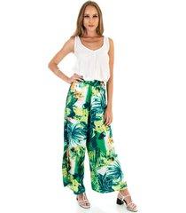 calça ocna brasil pantalona aberta havaí verde