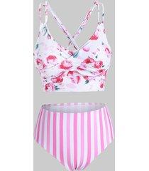 floral striped twist crisscross tankini swimwear