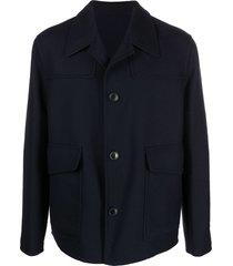 ami paris unstructured patch pockets jacket - blue