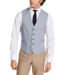 tommy hilfiger men's modern-fit th flex blue and red plaid vest
