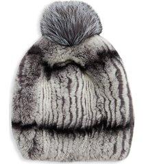 annabelle new york women's rabbit fur & fox fur pom-pom beanie - grey