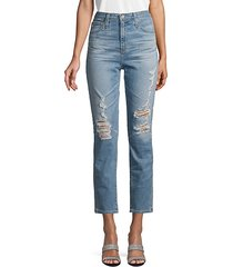pheobe distressed high-waisted tapered-leg jeans