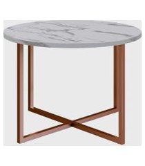 mesa de centro redonda thassos/est cobre artesano branca
