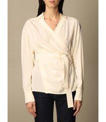 sportmax shirt sportmax silk shirt with belt