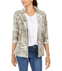 style & co camoflauge twill jacket, created for macy's
