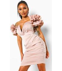 bodycon mini jurk met diepe v-hals en geplooide mouwen, champagne