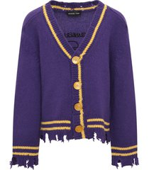 riccardo comi purple cardigan with yellow details