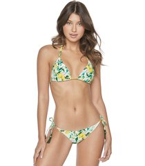 pilyq lemons embroidered triangle bikini