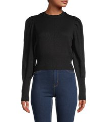 rd style women's puff-sleeve cropped sweater - black - size l