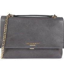 bruno magli women's leather & chain strap shoulder bag - grey