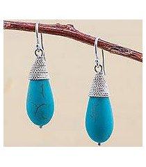sterling silver dangle earrings, 'blue fruits' (peru)