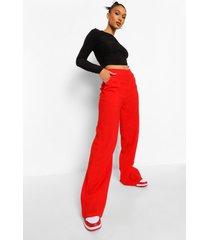 getextuurde wide leg broek met zak detail, red