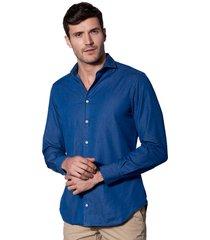 blue denim linen man shirt