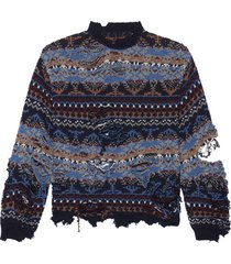 destroyed crewneck knit sweater navy