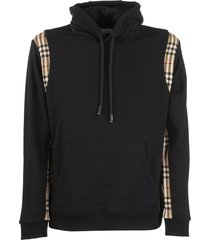 burberry vintage check panel cotton hoodie checker black