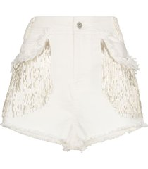 angel chen bead-tassel denim shorts - white