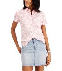 tommy hilfiger cotton gingham-print camp shirt