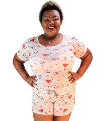 pijama feminino divertido salmã£o plus size - unico - feminino - dafiti