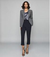 reiss carley - jacquard blazer in navy, womens, size 10