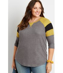 maurices plus size womens 24/7 solid colorblock sleeve baseball tee gray