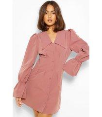 blouse jurk met pofmouwen en oversized kraag, stoffige roos