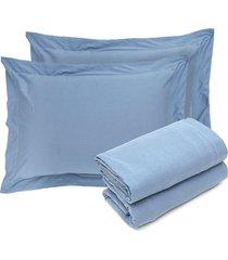 jogo de cama  queen day by day indigo azul - azul - dafiti