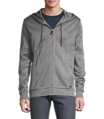 hugo hugo boss men's hooded cotton jacket - grey - size s