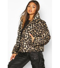 leopard print puffer jacket, brown