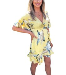 ax paris tropical print frill wrap dress
